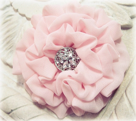 Light Pink Fabric Flower Brooch Pin and/or Hair Clip. Choose your button/bead finish.