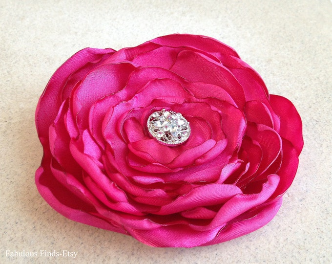 Fuchsia Pink Satin Flower Hair Clip or Brooch Pin.Choose your size and button/bead finish. Handmade.