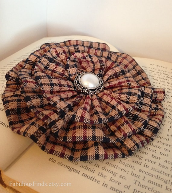 Burgundy & Black Plaid Brooch Pin and/or Hair Clip. Choose your button/bead finish. Handmade.