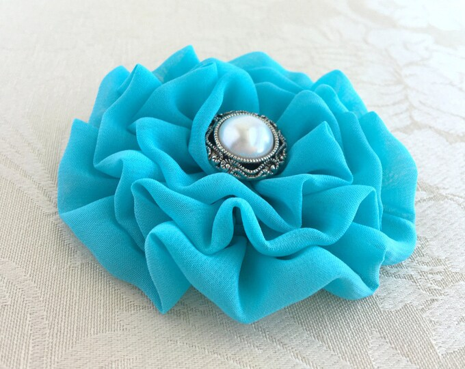 Turquoise Fabric Flower Hair Clip or Brooch Pin. Choose your button/bead finish. Handmade.