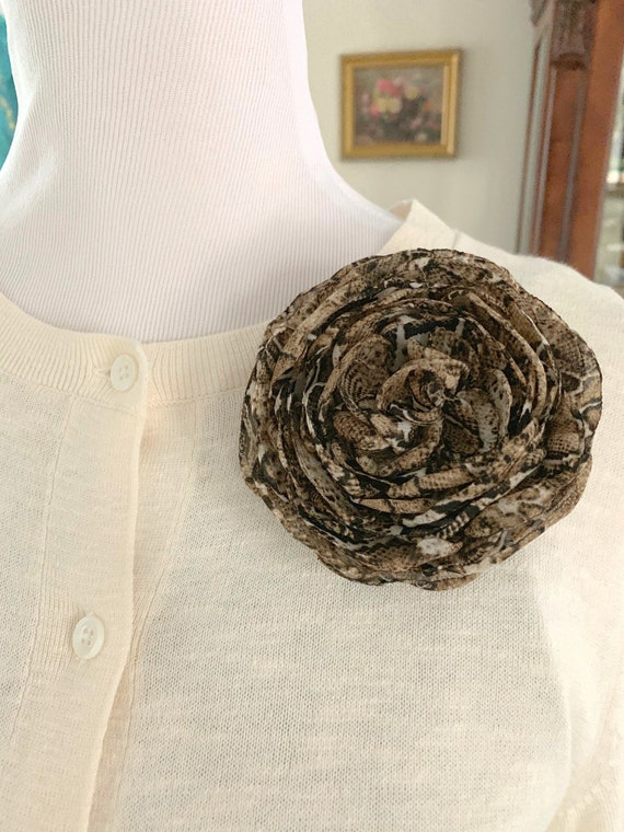 Snakeskin Print Flower Brooch Pin or Hair Clip. Designer Inspired.