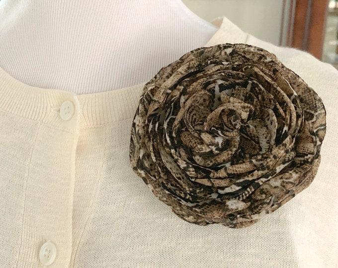 Snakeskin Print Flower Brooch Pin or Hair Clip. Designer Inspired. Handmade.