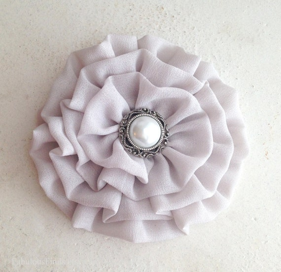 Gray Chiffon Flower Hair Clip and/or Brooch Pin. Choose your button/bead finish. Handmade.
