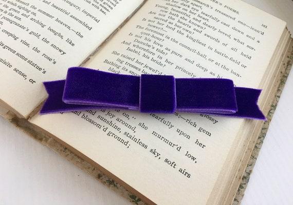 Purple Velvet Ribbon Bow Hair Clip. Handmade.