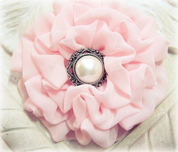 Pastel Pink Fabric Flower Brooch Pin and/or Hair Clip. Choose your button/bead finish. Handmade.