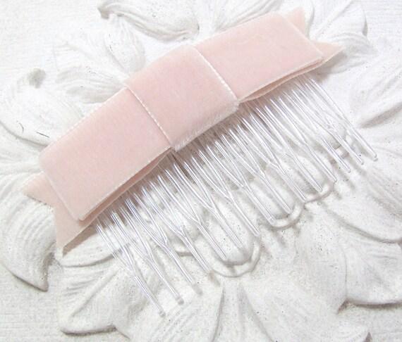 Nude Velvet Bow Hair Clip or Hair Comb