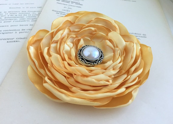 Light Gold Satin Flower Hair Clip or Brooch Pin. Choose your size and button/bead finish.