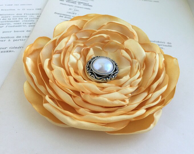 Light Gold Satin Flower Hair Clip or Brooch Pin. Choose your size and button/bead finish. Handmade.