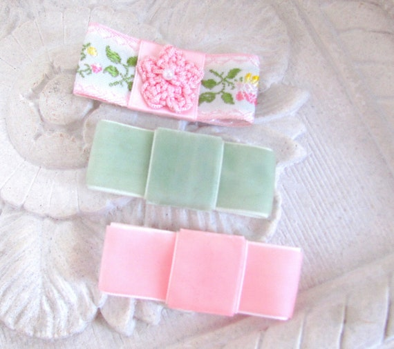 Light Pink and Green Velvet Bow Hair Clips. CLEARANCE SALE