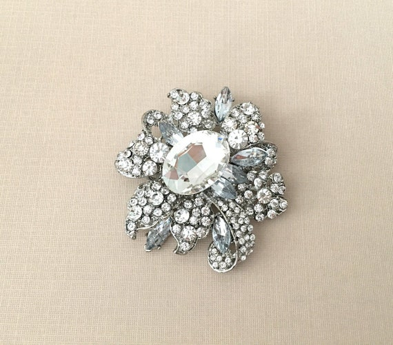 Vintage Style Large Size Emerald Green Flower Wedding Bouquet Brooch Party Pin