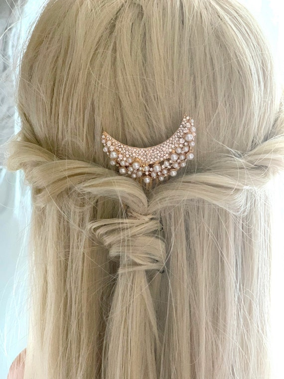 Gold Moon Pearl & Rhinestone Hair Comb