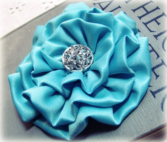 Aqua Fabric Flower Hair Clip and/or Brooch Pin. Choose your button/bead finish. Handmade.