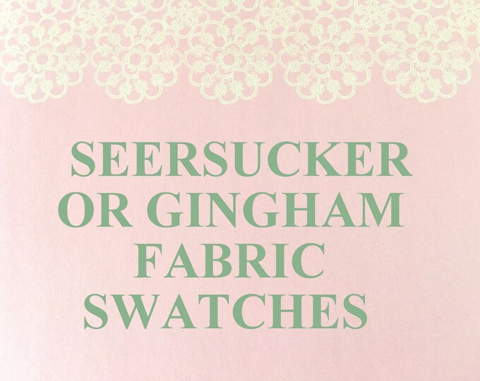 GINGHAM or SEERSUCKER Fabric Samples.Fabric Swatch.CHOOSE Color.Pink,Red,Royal Blue,Purple,Turquoise,Orange, Lemon Yellow, Navy, Green, Aqua