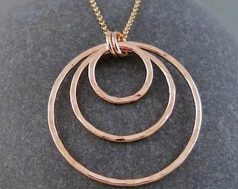 Handmade Gold Triple Circle Pendant