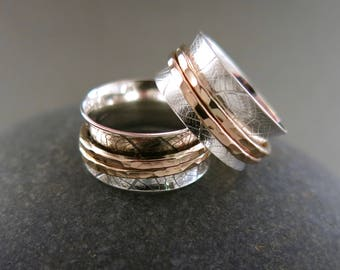 NEW: Leaf Print Meditation Ring in Sterling Silver and 14K Gold Fill