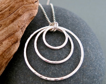 Triple Circle Hammered Hoops Pendant in Sterling Silver