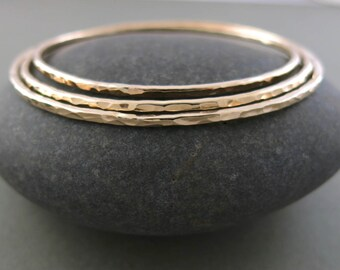 Thick 14K Gold Filled Hammer Textured Stacking Bangle