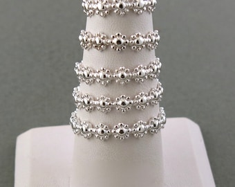 Sterling Silver Daisy Stacking Rings