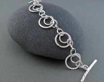 Handmade hammer textured sterling silver circles bracelet