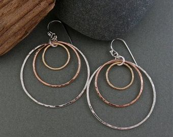 Trimetal Hoop Earrings: Sterling Silver, 14K Gold and Rose Gold Fill