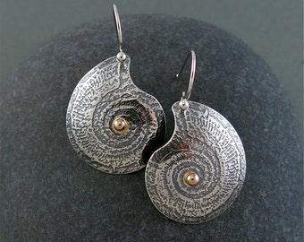 Ammonite Earrings in Sterling Silver and 14K Gold