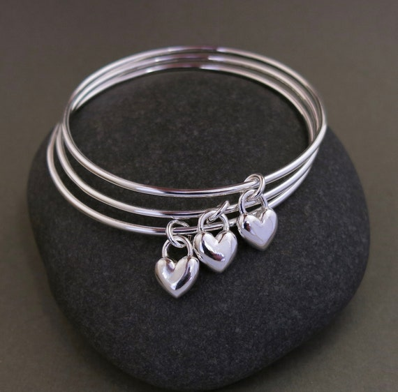 982228ac942ff NEW: Sweethearts sterling silver heart stacking bangle