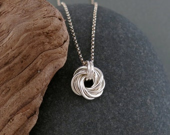 Handmade Sterling silver love knot pendant