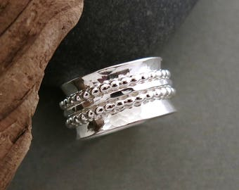 NEW: Meditation Ring in Hammer Textured Sterling Silver with Beaded Spinners