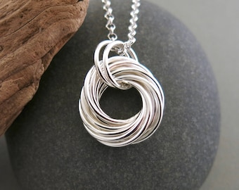 """NEW:  Large sterling silver love knot pendant with 30"""" sterling rolo chain"""