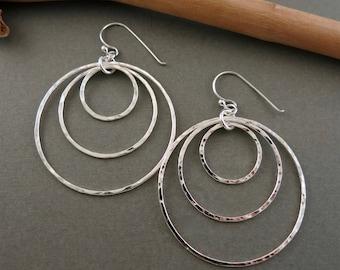 NEW: Triple hoop earrings in sterling silver