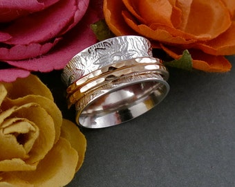 Handmade Silver and Gold Floral Print Meditation/Spinner Ring