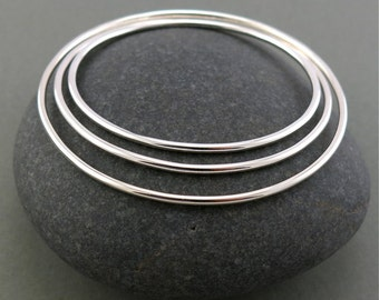 Thick Sterling Silver Smooth Stacking Bangle