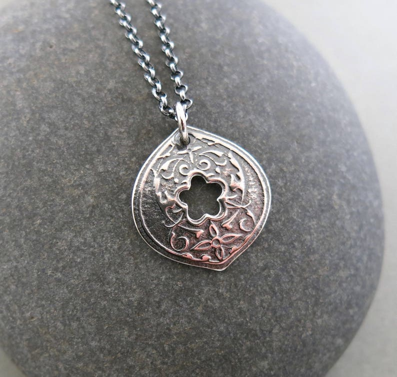 Hand Pierced Pendant in Oxidized Sterling Silver with Adjustable Rolo Chain