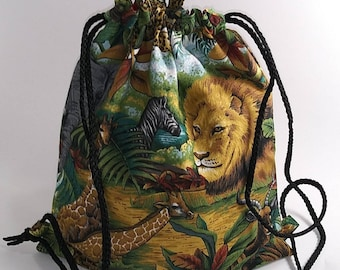 Lions Monkey Cheetah Jungle Animals Drawstring Backpack Tablet Book Bag 9ecb16f088e29