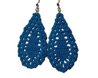 Large Crochet Teardrop Earrings