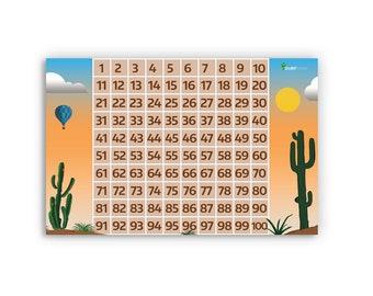 Hundreds 100s Chart Desert Sunset Cactus Teacher Educational Math Posters- Sharp Student Hot Air Balloon