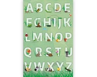 Garden Alphabet Letters Poster Educational Kids Bedroom, Classroom Bugs Insects Flowers Animals Preschool