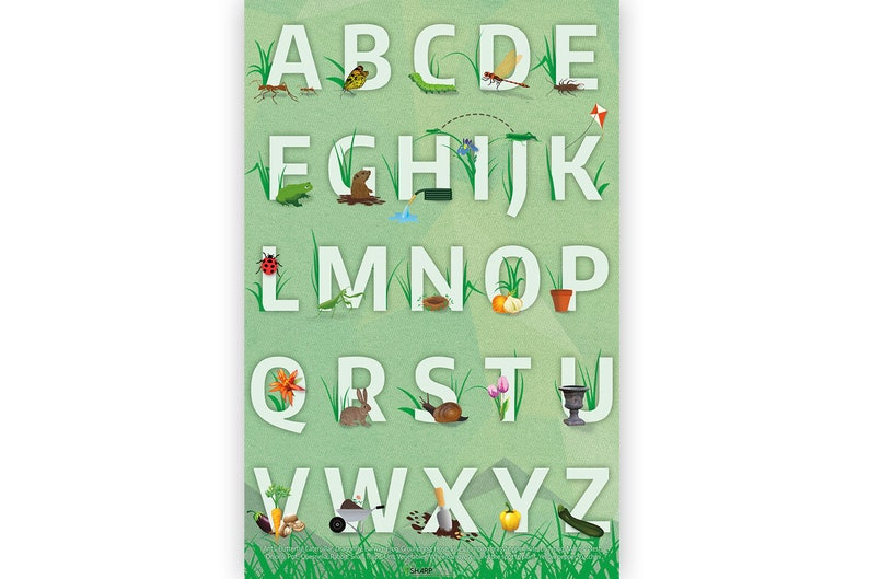 Garden Alphabet Letters Poster Educational Kids Bedroom image 0