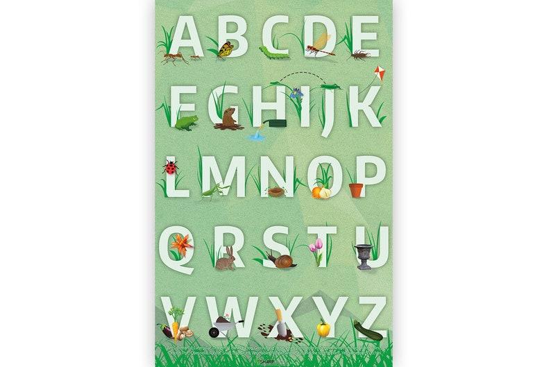 Garden Alphabet Letters Poster Educational Kids Bedroom image 0
