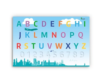 Cityscape Alphabet Letters Numbers Poster Educational Insipirational Printed Posters Kids Teachers Sharp Student Buildings Airplane