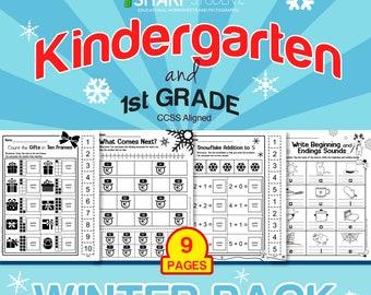 Kinder and 1st Grade Winter Christmas Holiday Worksheet Packet Set - 9 Pages (READING & MATH bundle)
