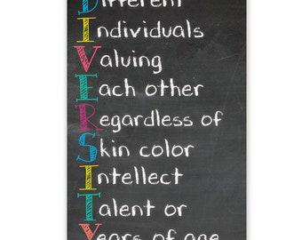 "Diversity Growth mindset Educational Printed 11x 17"" Poster Kids Teachers Sharp Student"