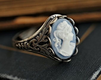 Blue Cameo Ring - Adjustable - Sterling Silver Plated