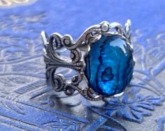Blue Shell Filigree Ring
