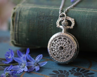 Small Pocket Watch Pendant Necklace in Silver:  Choose from Three Options