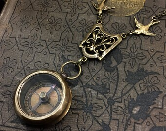 Working Bronze Compass Necklace