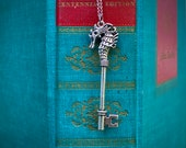 Key Sea Horse Necklace in brass or silver