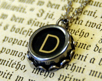Vintage Typewriter Key Necklace- D