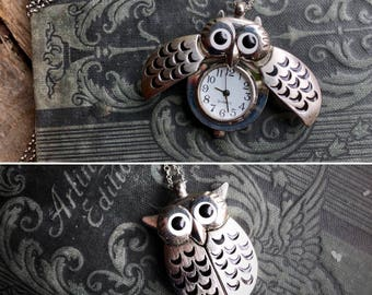 Owl Watch Necklace with Wings