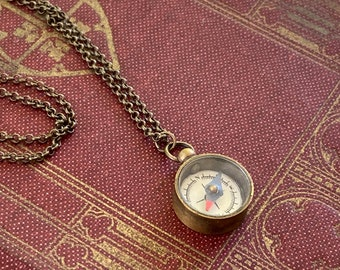 Small Brass Working Compass Necklace Also Available in Gold or Antique Silver